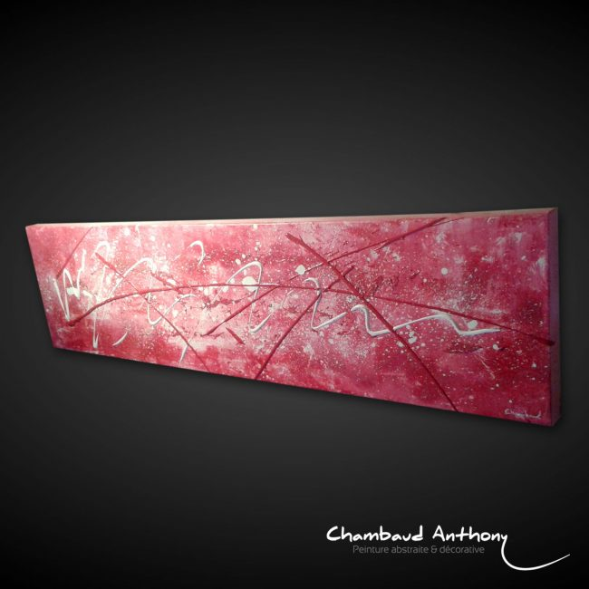 Tableau abstrait rose fushia