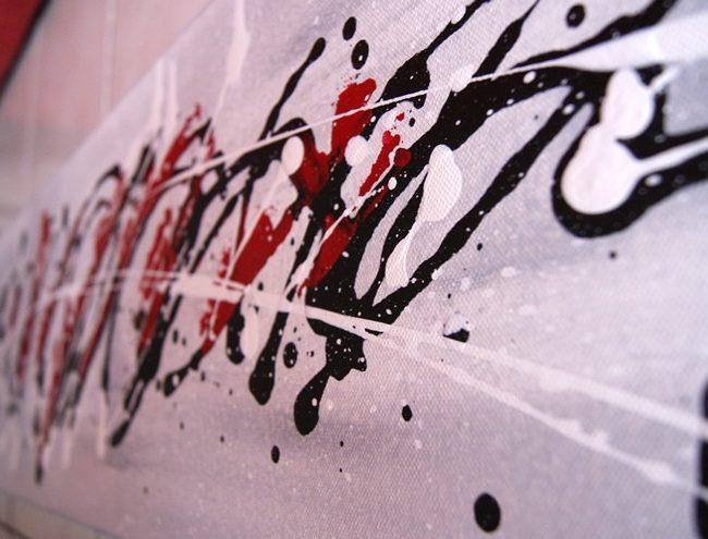 peinture abstraite blanche, rouge et gris