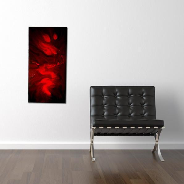 tableau rouge et noir peinture liquide
