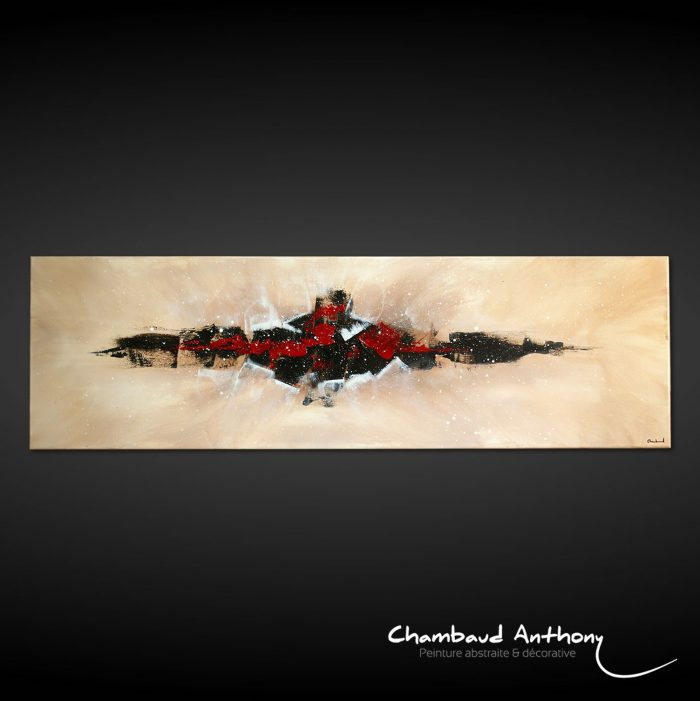 tableau-ville-marron-noir-rouge-creme