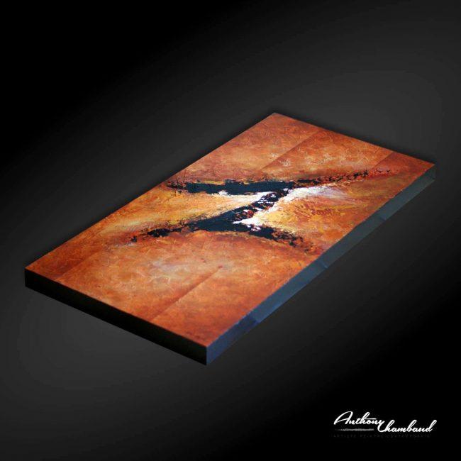 tableau marron sur bois naturel
