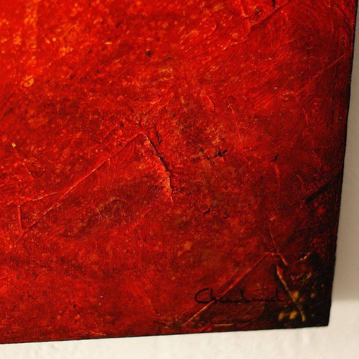 Tableau rouge sur bois