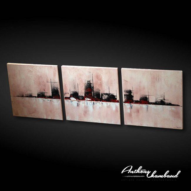 tableau ville couleur creme skyline
