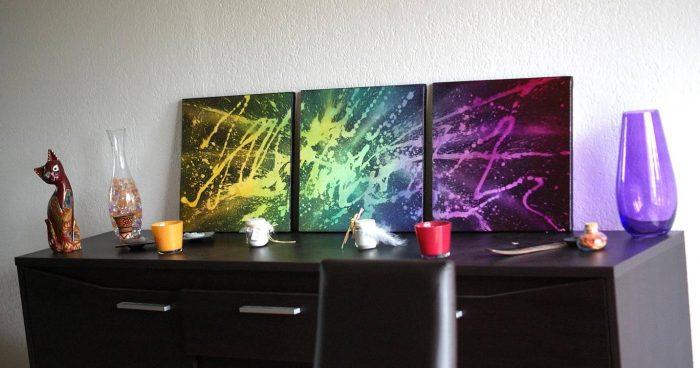 tableau-très-coloré-multicouleur-triptyque