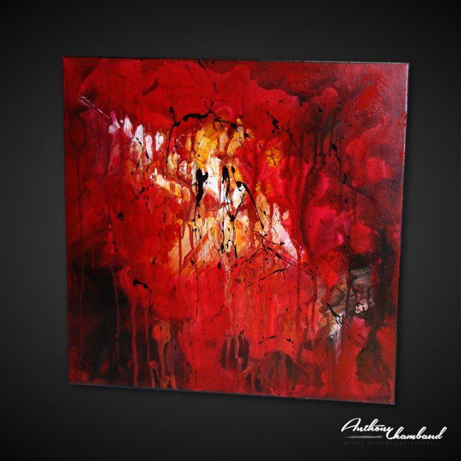 tableau rouge abstrait