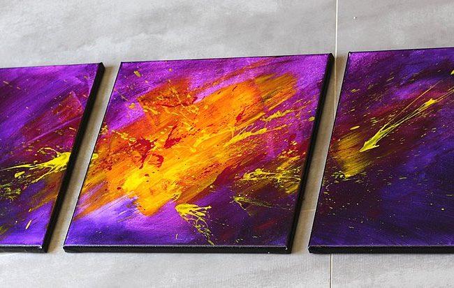 Tableau violet & mauve & jaune
