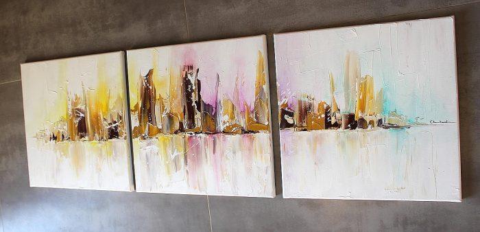 Tableau Moderne Skyline, ville couleur