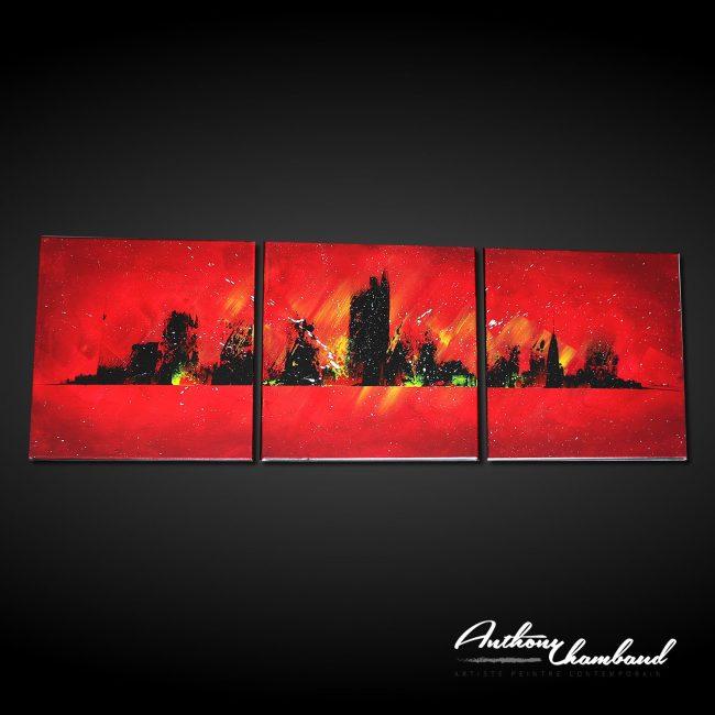 Tableau ville rouge skyline
