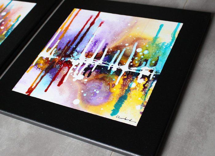 Voici le tableau dans les détails, de belles couleurs pourpre, violet, jaune, marron, rouge et turquoise.
