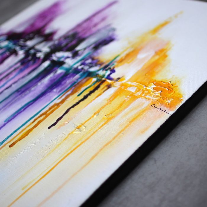 tableau violet jaune et mauve