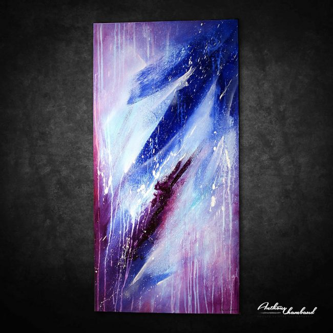 Tableau violet mauve et bleu