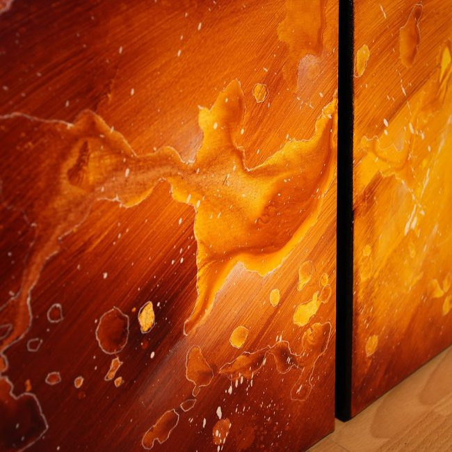 tableau marron ocre orange